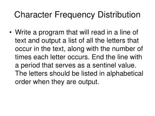 Character Frequency Distribution