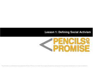 Lesson 1: Defining Social Activism