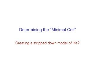 "Determining the ""Minimal Cell"""