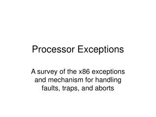 Processor Exceptions