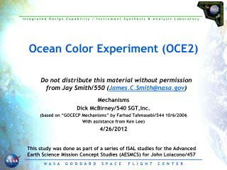 Ocean Color Experiment (OCE2)