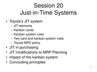 Session 20 Just-in-Time Systems