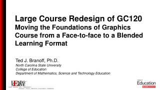 Ted J. Branoff, Ph.D. North Carolina State University College of Education
