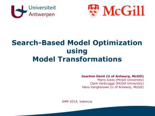 Search-Based Model Optimization  using  Model Transformations