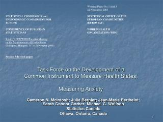 Task Force on the Development of a  Common Instrument to Measure Health States: Measuring Anxiety