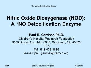 Nitric Oxide Dioxygenase NOD: A   NO Detoxification Enzyme