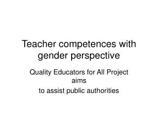 Teacher competences with gender perspective