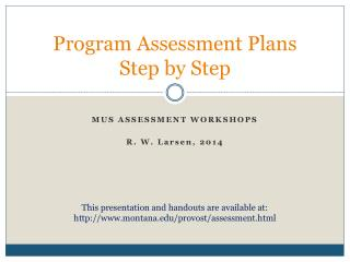 Program Assessment Plans  Step by Step