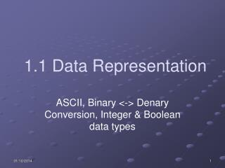 1.1 Data Representation