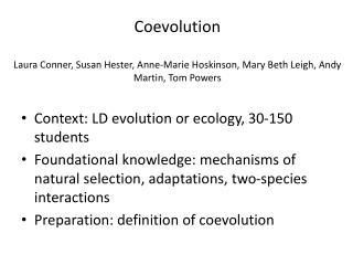 Context: LD evolution or ecology, 30-150 students
