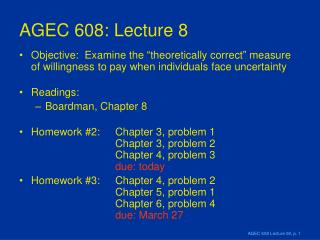AGEC 608: Lecture 8