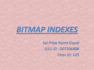 BITMAP INDEXES