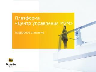 Платформа  «Центр управления  M2M » Подробное описание