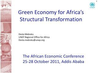 Green Economy for Africa's Structural Transformation