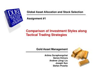 Global Asset Allocation and Stock Selection Assignment #1