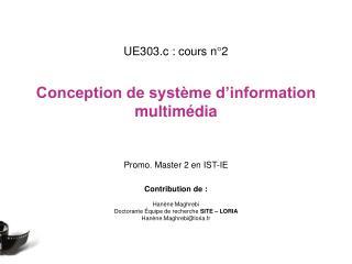 UE303.c : cours n°2 Conception de système d'information multimédia