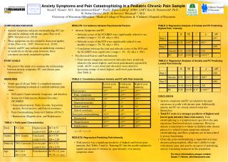 Anxiety Symptoms and Pain Catastrophizing in a Pediatric Chronic Pain Sample