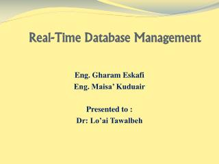 Real-Time Database Management
