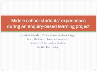 Middle school students' experiences during an enquiry-based learning project