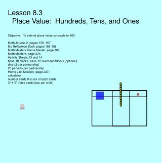Lesson 8.3      Place Value:  Hundreds, Tens, and Ones