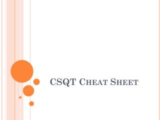 CSQT Cheat Sheet
