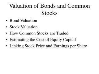 Valuation of Bonds and Common Stocks