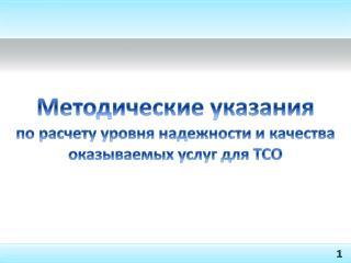 Методические указания по расчету уровня надежности и качества оказываемых услуг для ТСО