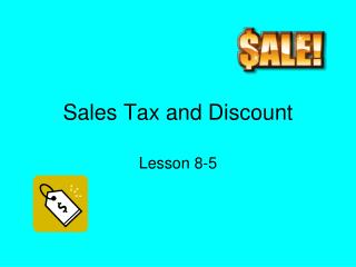 Sales Tax and Discount