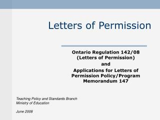 Letters of Permission