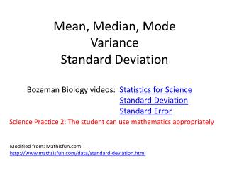Mean, Median, Mode Variance Standard Deviation