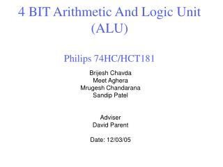 4 BIT Arithmetic And Logic Unit (ALU) Philips 74HC/HCT181