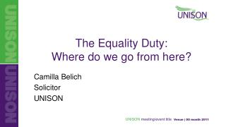 The Equality Duty:  Where do we go from here?