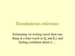 Simultaneous inference