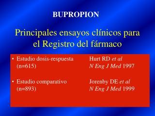 Principales ensayos clínicos para el Registro del fármaco