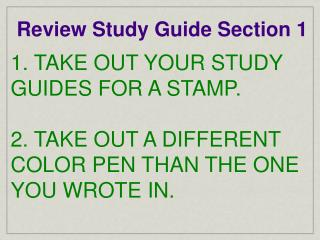 Review Study Guide Section 1