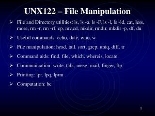 UNX122 � File Manipulation