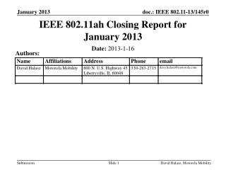 IEEE 802.11ah Closing Report for January  2013