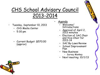 CHS School Advisory Council  2013-2014