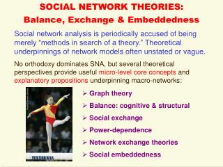 SOCIAL NETWORK THEORIES: Balance, Exchange & Embeddedness