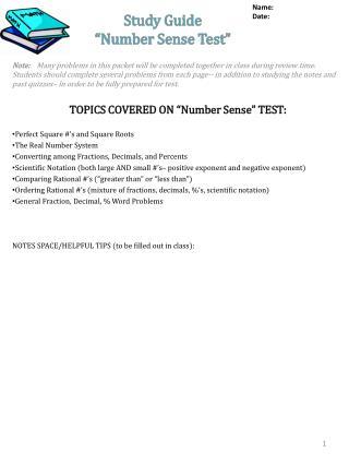 "Study Guide ""Number Sense Test"""