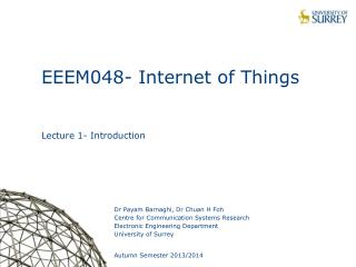 EEEM048- Internet of Things Lecture 1- Introduction