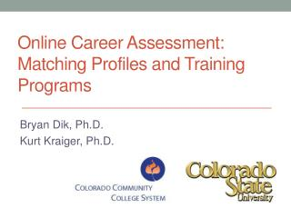 Online Career Assessment: Matching Profiles and Training Programs