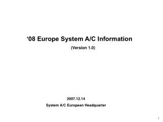 '08 Europe System A/C Information (Version 1.0)