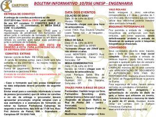 BOLETIM INFORMATIVO  10/056 UNESP - ENGENHARIA