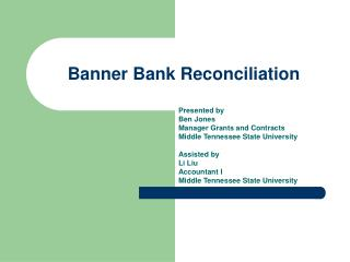 Banner Bank Reconciliation
