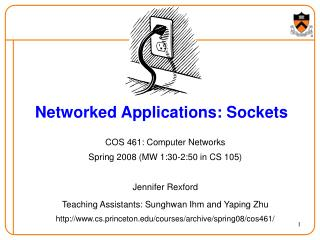 Networked Applications: Sockets