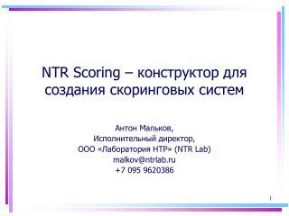 NTR Scoring  – конструктор для создания скоринговых систем