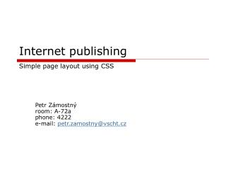 Internet publi shing Simple page layout using  CSS