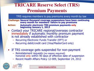 TRICARE Reserve Select (TRS) Premium Payments
