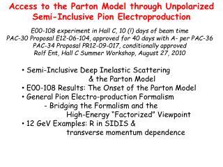 Access to the Parton Model through Unpolarized Semi-Inclusive Pion Electroproduction